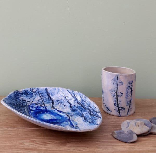 Blue Oval dish & leafy bud vase
