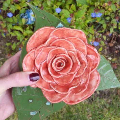 ornamental red ceramic rose