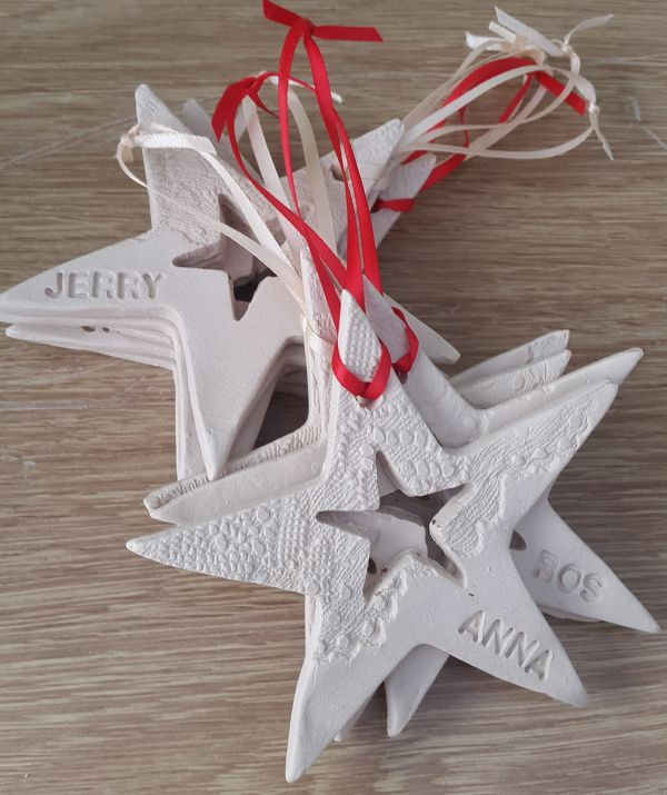 personalised ceramic Christmas star decorations