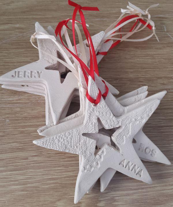 Personalised Ceramic Star Hanging Decoration - Charlotte ...