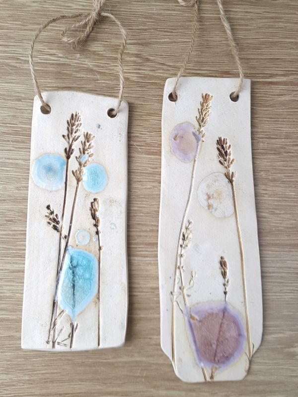 lavender ceramic wall hangings