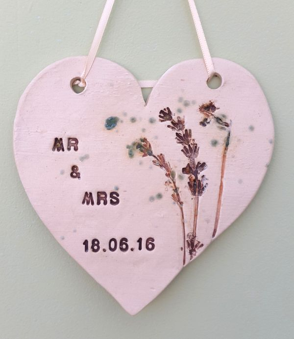 Personalised ceramic wedding plaque with marriage date