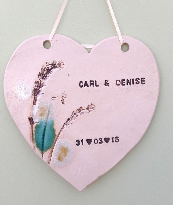 Personalised ceramic wedding plaque