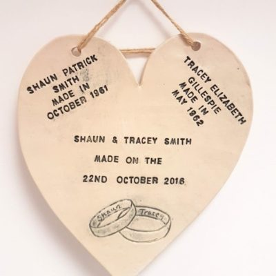 personalised wedding anniversary heart plaque