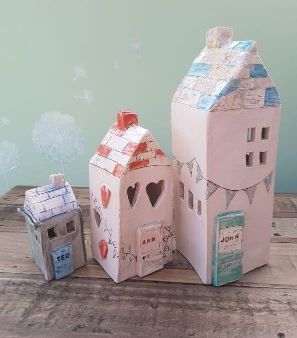 personalised ceramic tea light houses