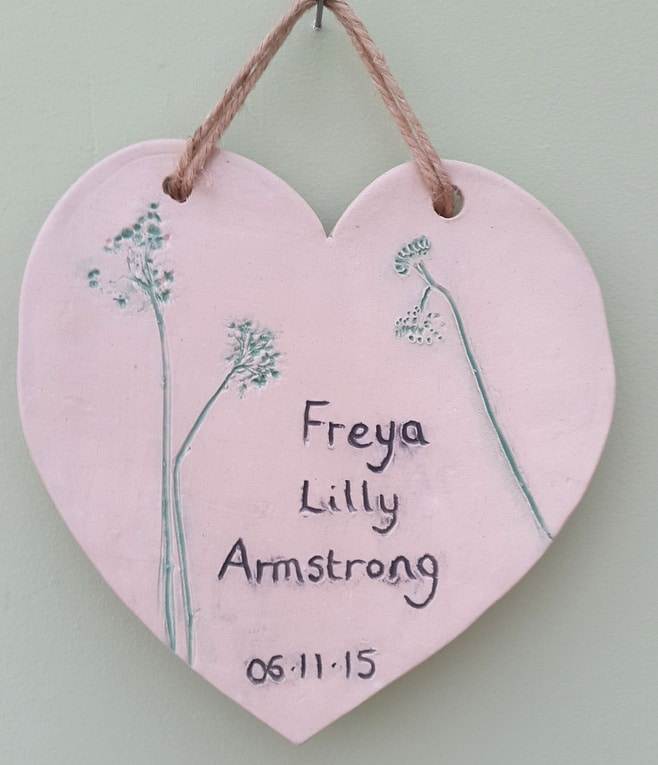 ceramic heart newborn baby plaque