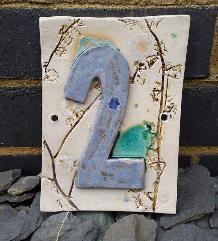handmade ceramic number plaque