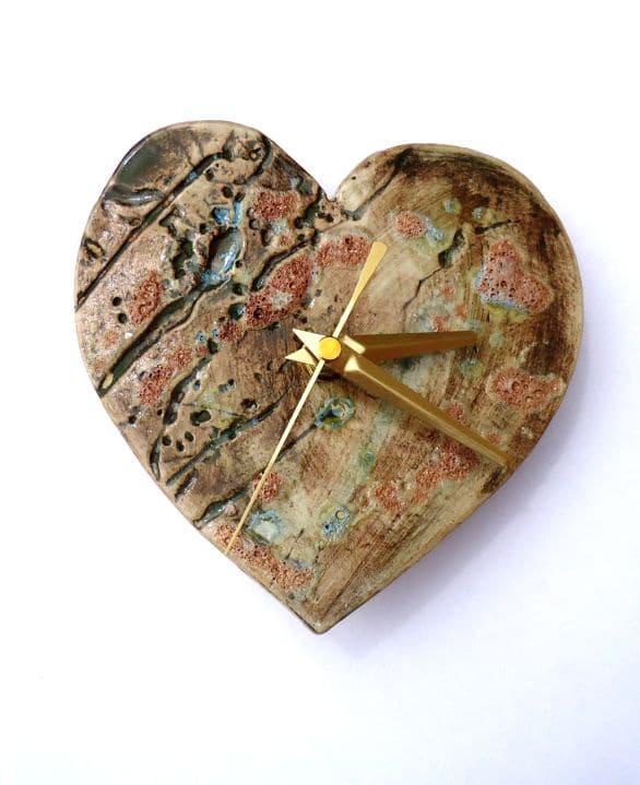 Rustic Ceramic Heart Clock Charlotte Hupfield Ceramics