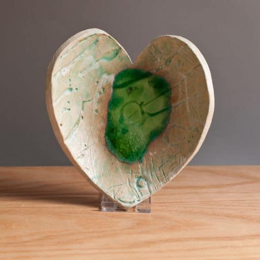 Ceramic Heart Dish With Green Melted Glass Charlotte