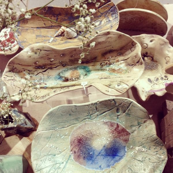 handmade ceramic bowls with melted glass