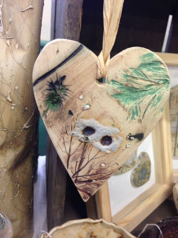 hanging ceramic heart