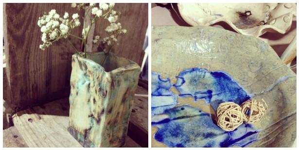 natural ceramic bud vase & melted blue glass bowl