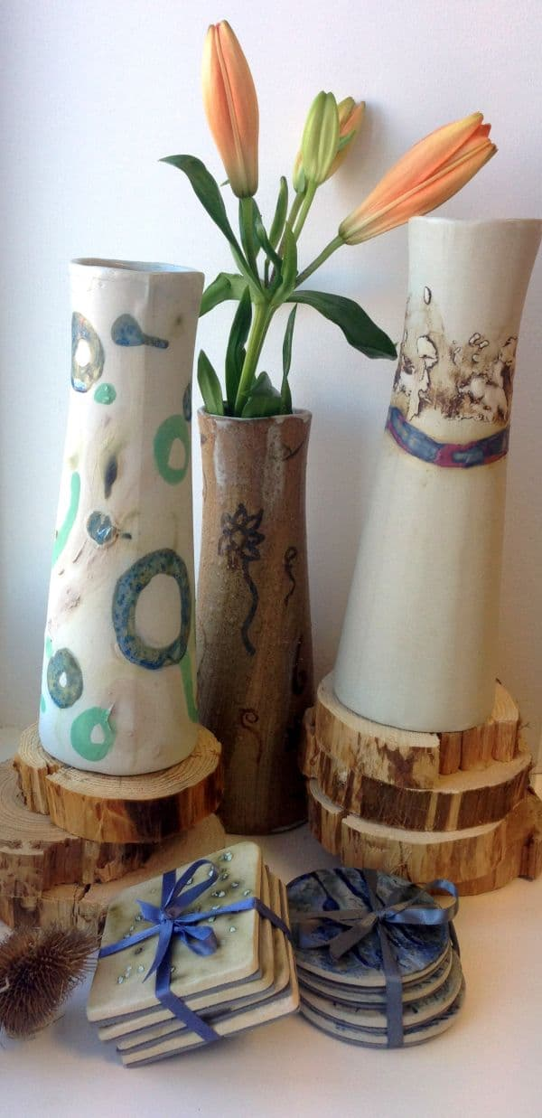 ceramic vases and coasters