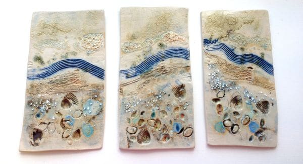 coastal ceramic triptych panels
