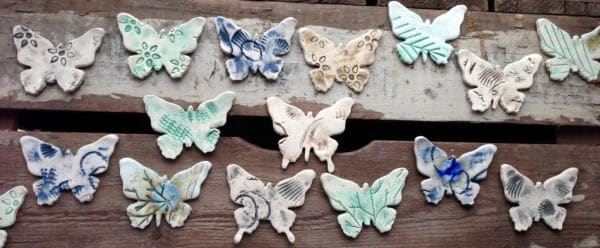 ceramic butterfly brooches