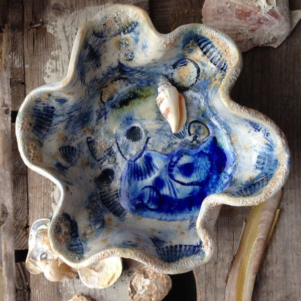 under the sea ceramic waves bowl