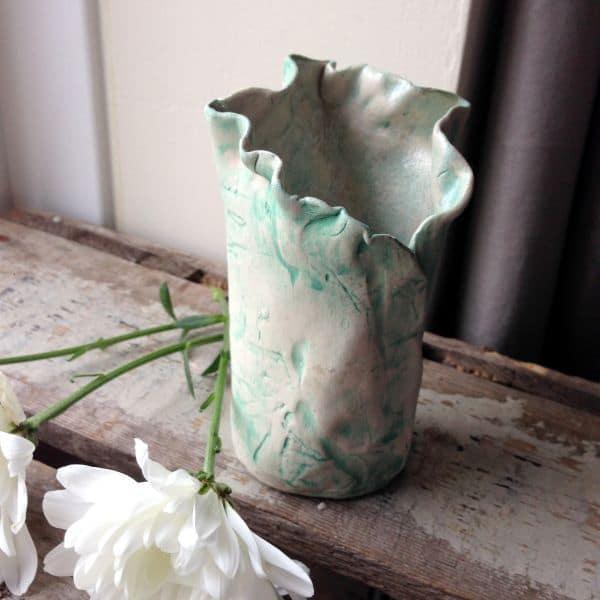 green ceramic bud vase