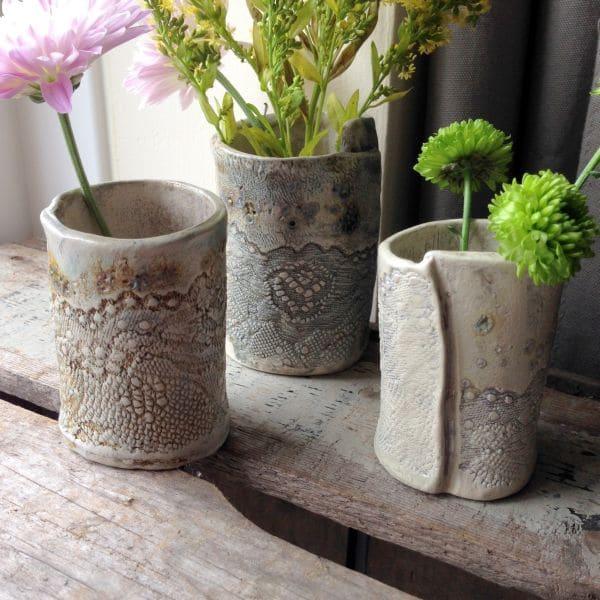 ceramic lace vases