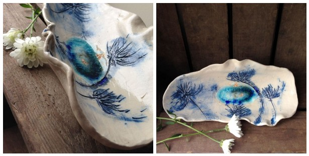 blue thistles ceramic bowl