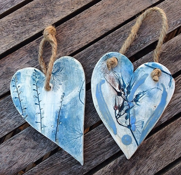 blue ceramic hearts