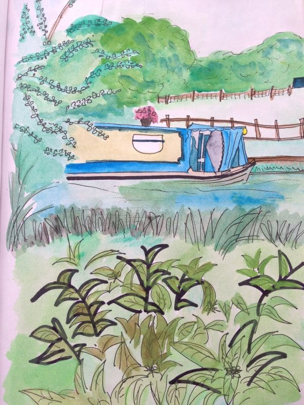 canal boat watercolour