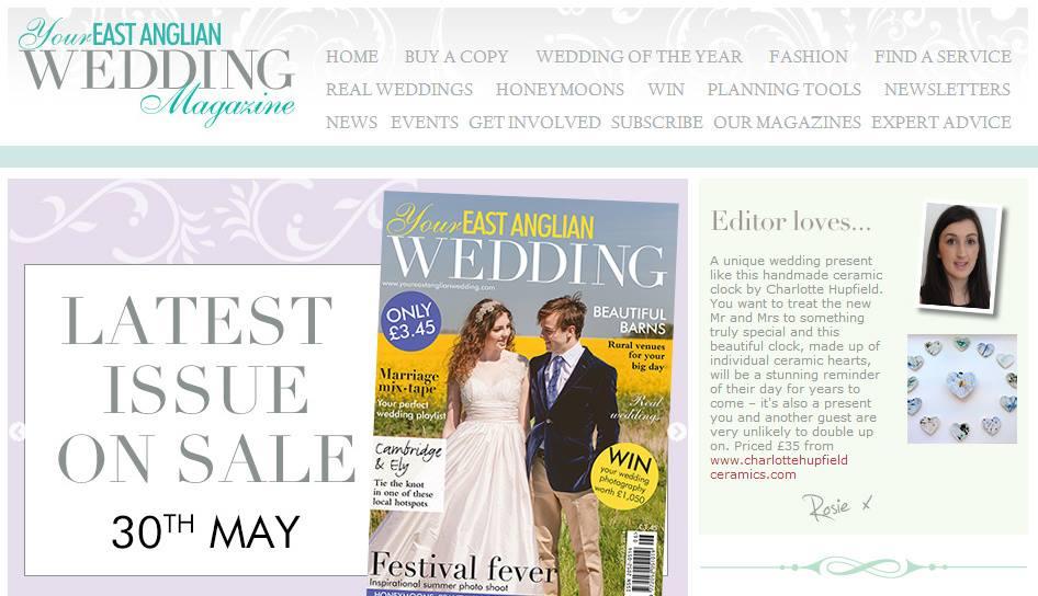 heart clock in east anglian wedding mag