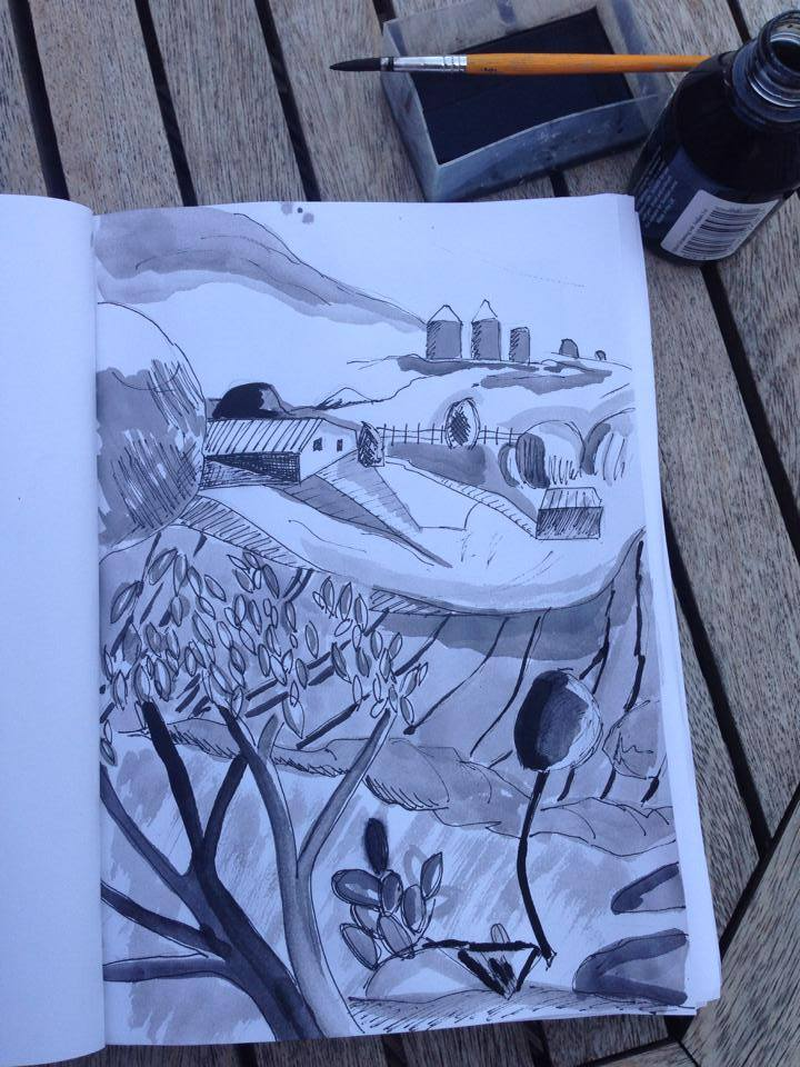 pen and ink countryside scene