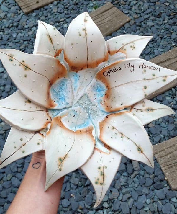 Personalised ceramic lily bowl