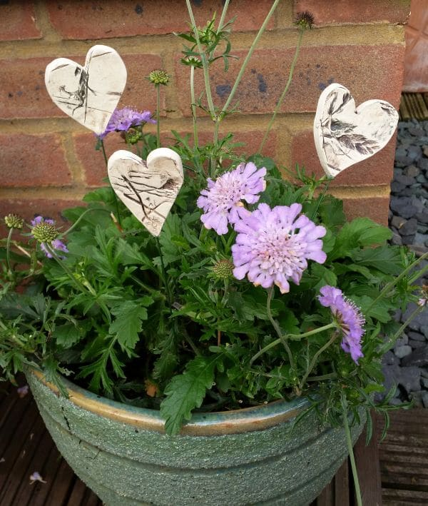 ceramic hearts in plant pot