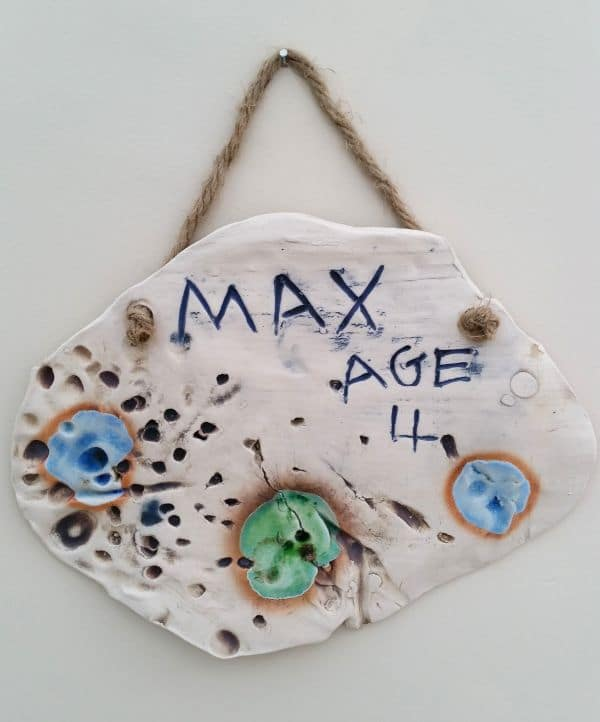 handmade childrens ceramic plaque
