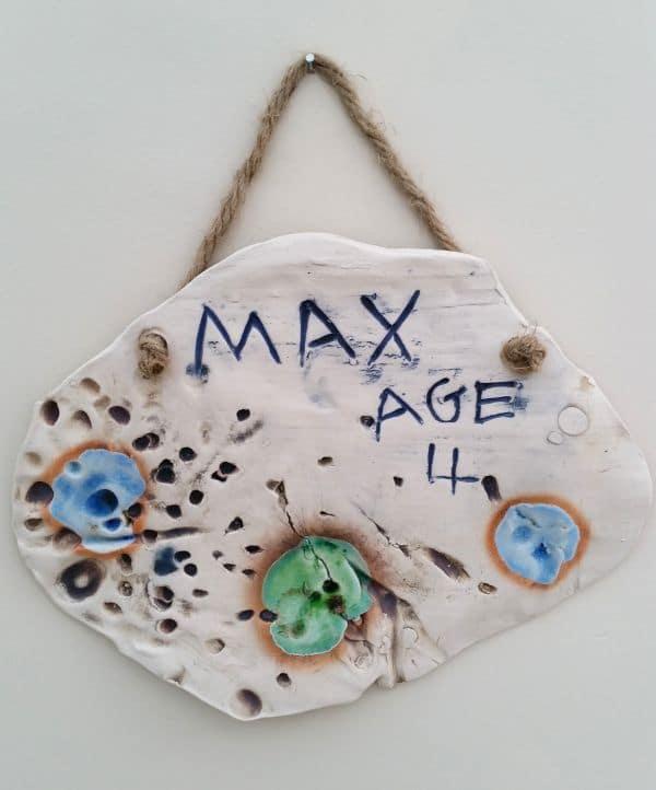 handmade childrens ceramic plaque