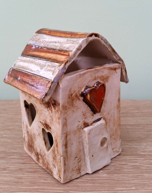 rustic red ceramic love house