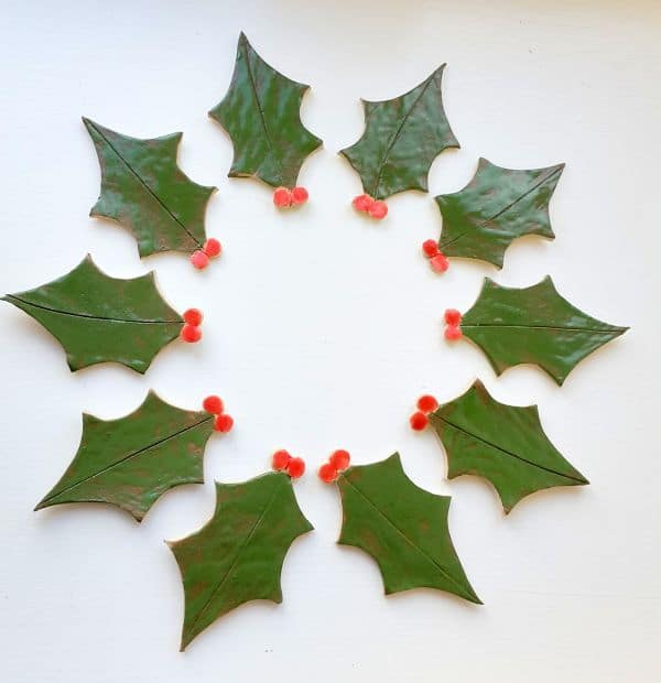 ceramic holly leaves