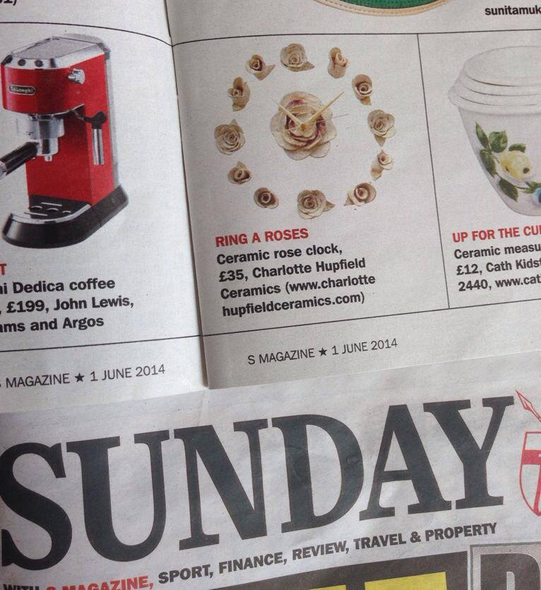 Ceramic Rose Clock featured in Sunday Express S Magazine