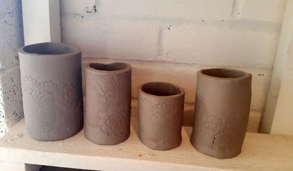 ceramic lace bud vases in progress