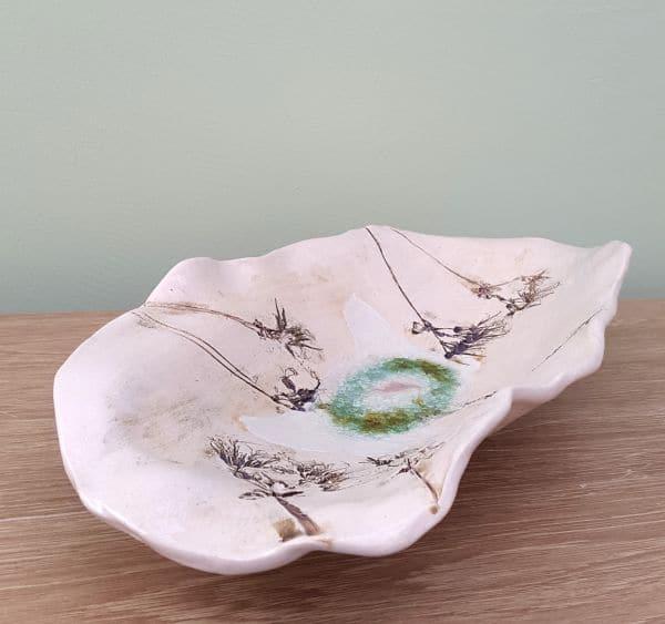 elongated floral ceramic bowl