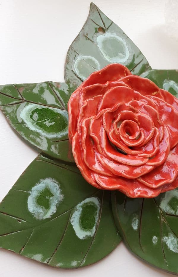 ceramic rose wall feature