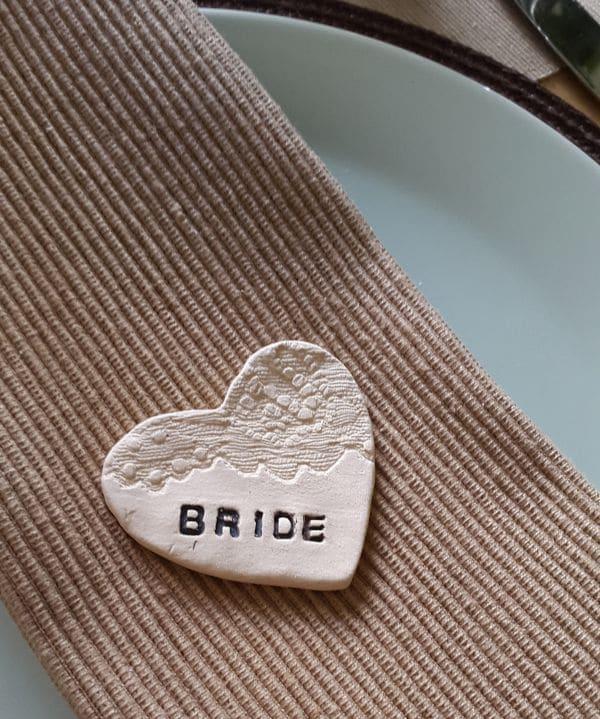 lace impressed ceramic wedding souvenier