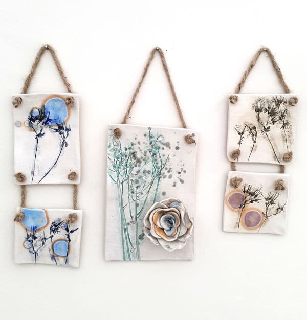ceramic floral wall hangings