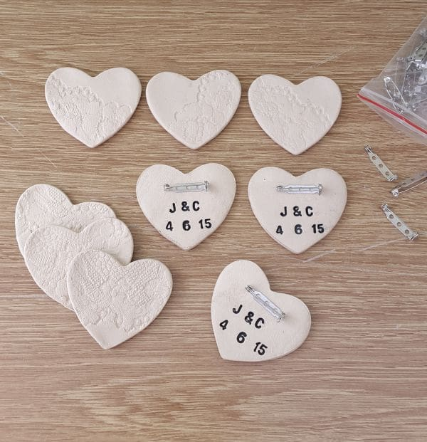 personalised ceramic wedding brooch favours