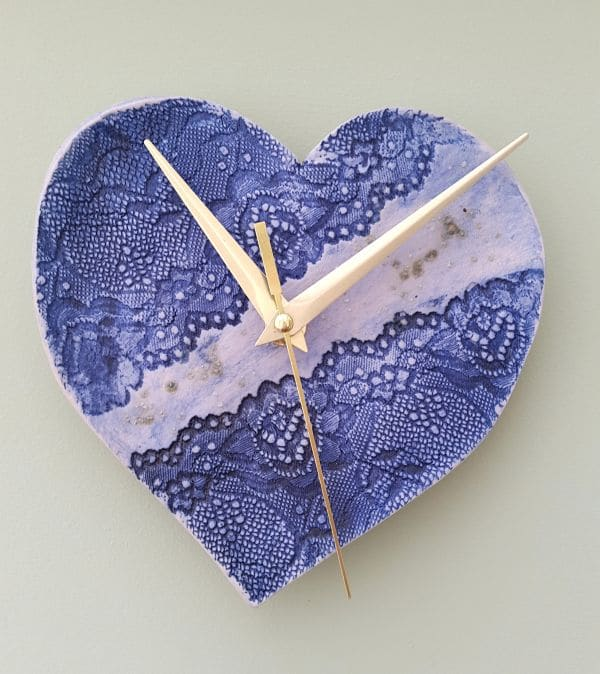blue ceramic lace clock