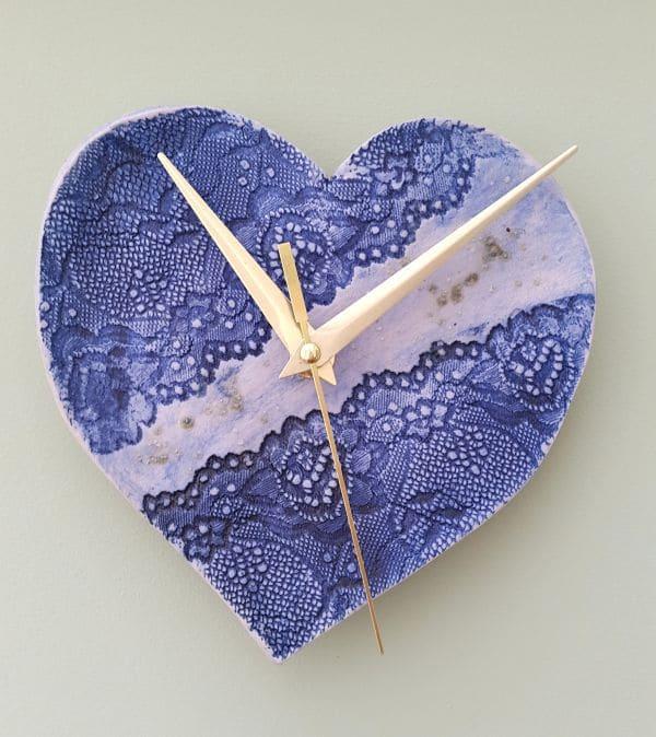 blue ceramic lace clock