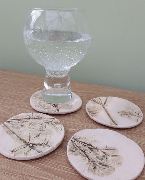 round ceramic floral coasters