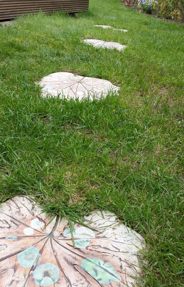ceramic leaf stepping stones