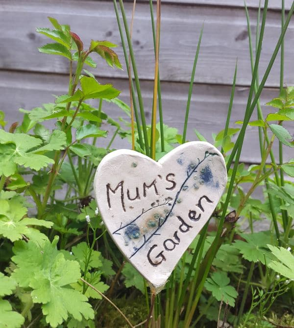 mums garden ceramic heart flower pot decoration