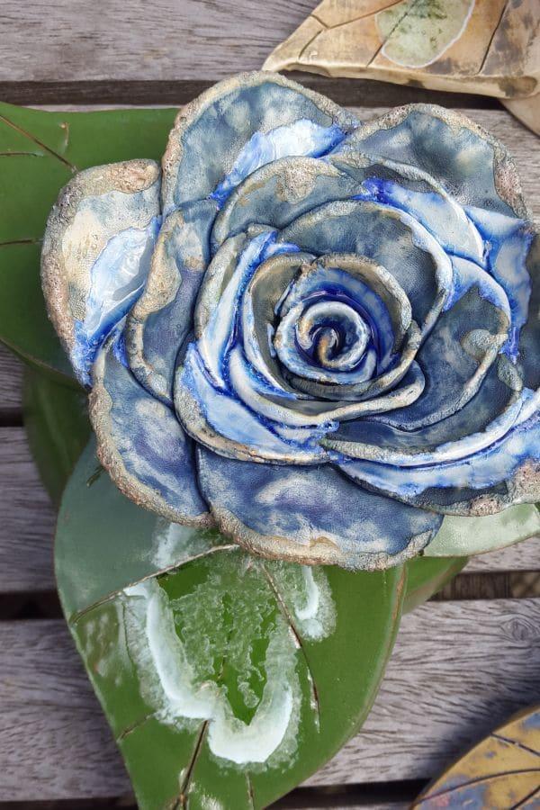 blue ceramic rose
