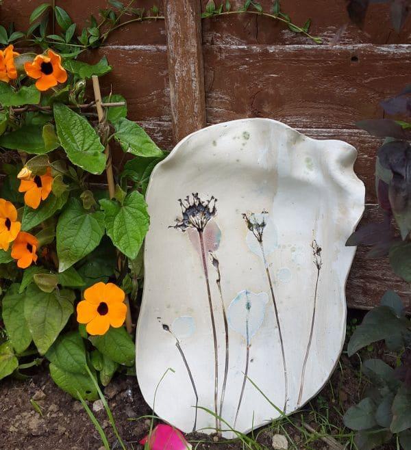 wild seedheads large ceramic dish