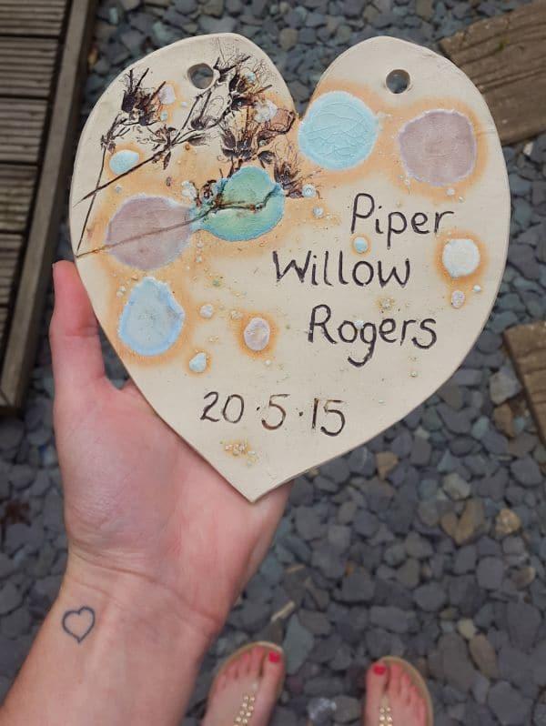 personalised ceramic heart plaque