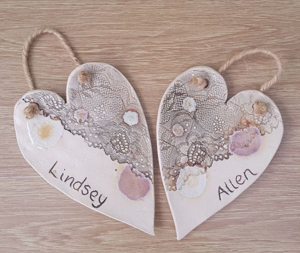 ceramic lace wedding hearts