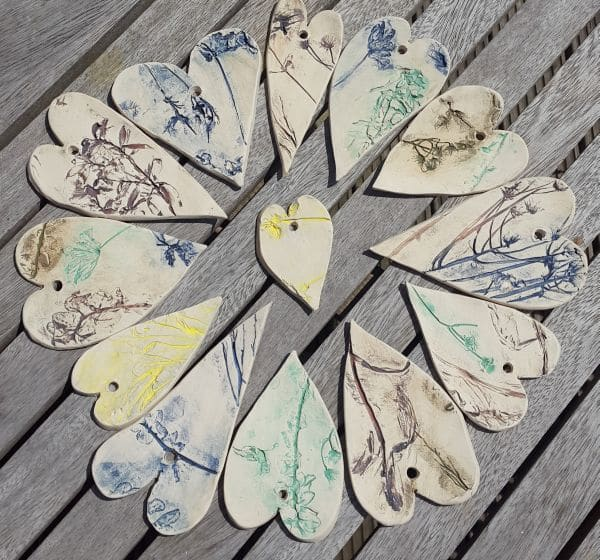 organic ceramic heart decorations